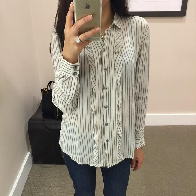 LOFT stripe ruffle blouse, XSP