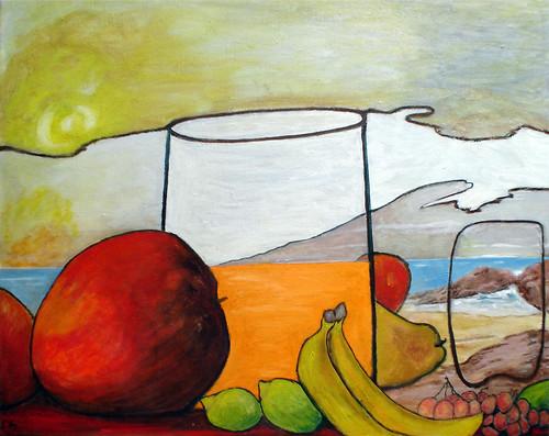 pintura sobre tela frutas