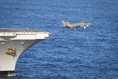 An F-35C Lightning II carrier variant joint strike fighter launches from the flight deck of USS Nimitz (CVN 68). (U.S. Navy/MC3 Timothy M. Ahearn)
