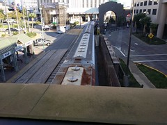 The conference is in the Hilton Riverside, which has a train line right through the middle of it.