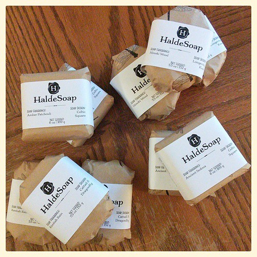 I know it's not much but here's a small restocking of soap! Amber Patchouli, Ancient Sedona, Hinoki Wood, and perpetual favorite Kentish Rain - -  all listed on the site now! #soap #handmadesoap