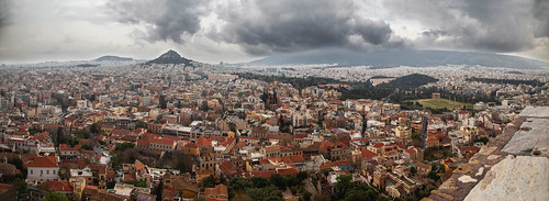 sky panorama view wide wideangle athens thunderstorm thunder