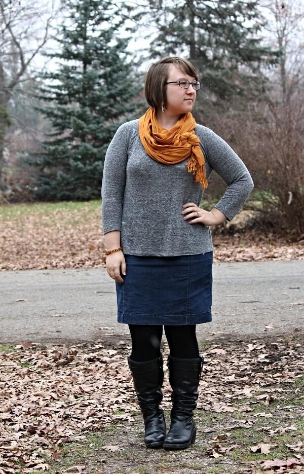 grey top, mustard scarf, denim skirt, black boots