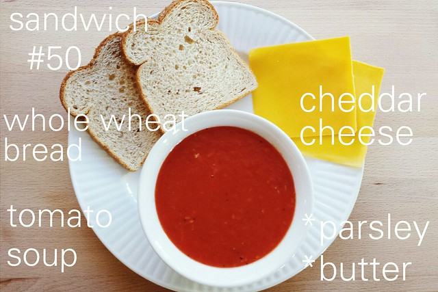 52 sandwiches no. 50: tomato soup with grilled cheese croutons