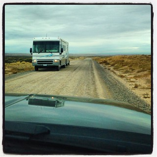 Traffic jam on NM State Road 7950. #airstream #airstreamdc2cali #vintageairstream