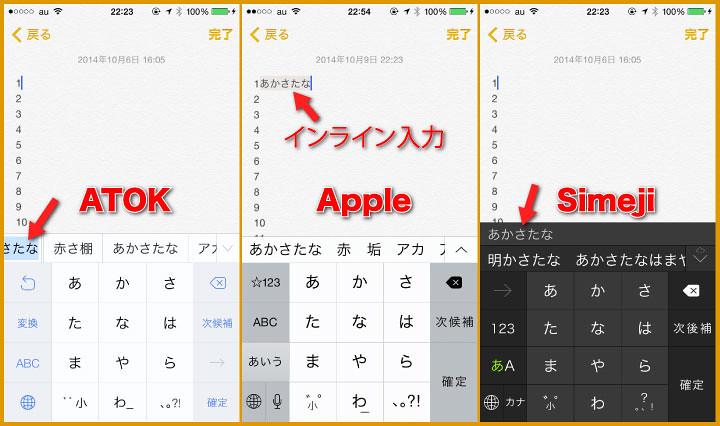 ATOK、Apple、Simeji