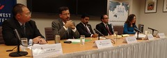 From left to right the panelists are Mr. Pan Tao, Founder, Institute for Sustainable Environment and Energy (ISEE); Shanghai, China; Mr. Prodyut Bora, National Executive Member, Bharatiya Janata Party; Delhi, India; Mr. Abhishek Shah, Constituent Assembly Member, Legislative Parliament, Madheshi People's Rights Forum; Patan, Kathmandu, Nepal; and Mr. Mark Stege, Council Member, Maloelap Atoll Council; Marshall Islands. Dr. Victoria Keener, Research Fellow, East-West Center in Honolulu, Hawai'i;Lead Principal Researcher in the Pacific Regional Integrated Sciences and Assessments (RISA) moderated the discussion.