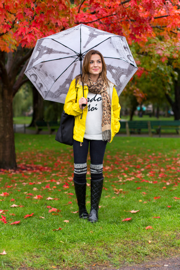 Rainy Day Look--Boston Public Garden