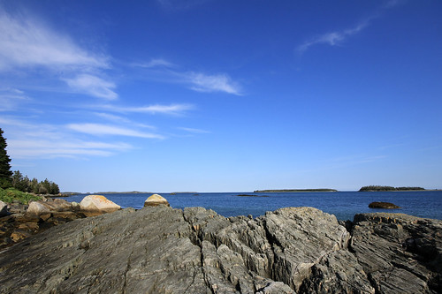 sky canada nature water clouds landscape rocks day novascotia clear atlanticocean taylorhead