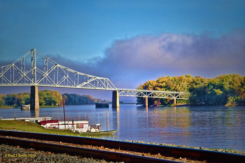 bridge autumn fall wisconsin river mississippi lansing iowa barge
