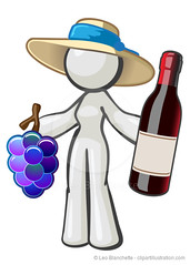 White Character Woman Grapes Wine Bottle