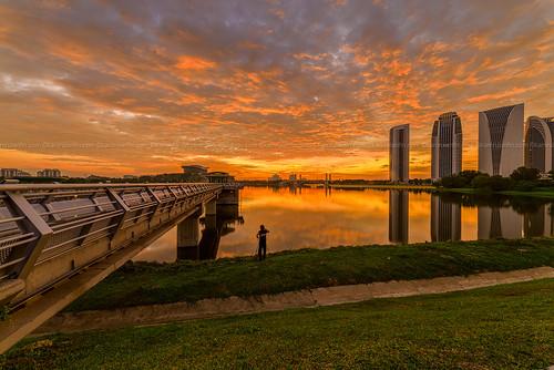 sunset lake reflection dam putrajaya putrajayalake putradam