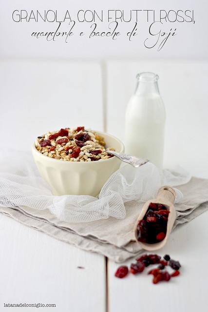 Granola con frutti rossi, mandorle e bacche di Goji