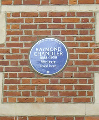 Photo of Raymond T. Chandler and Raymond Chandler blue plaque