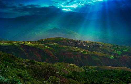 sunrise landscape kunming cina dongchuan