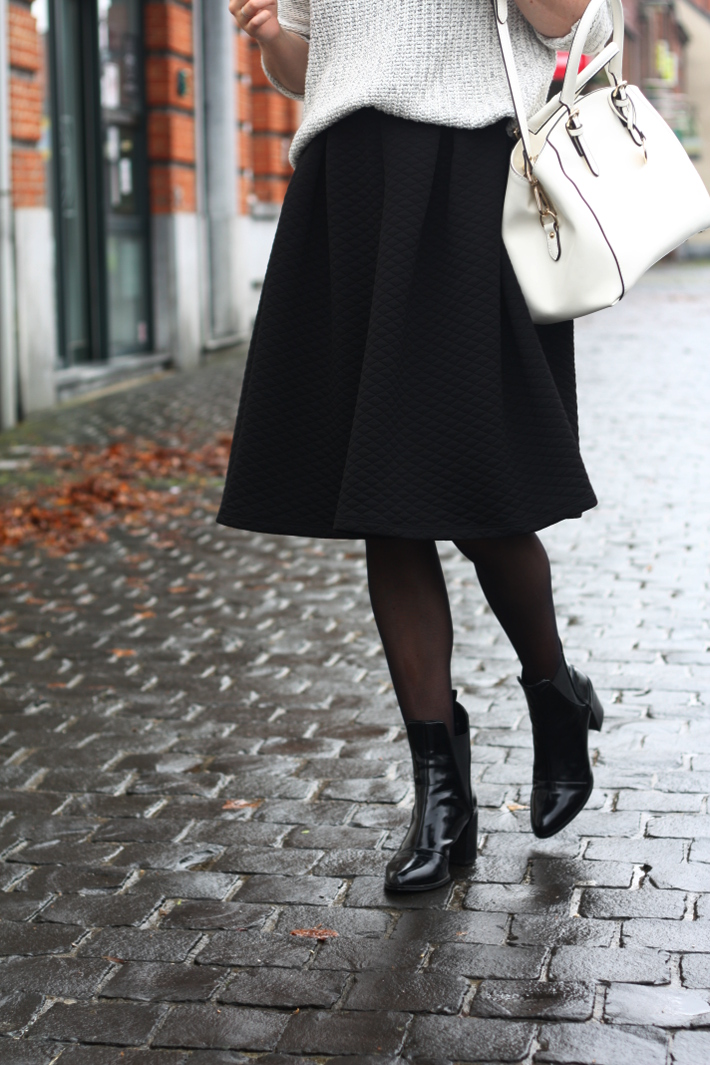 quilted midi skirt patent chelsea boots white purse