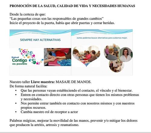 Cartel informativo del Taller de Masaje de manos con la enfermera Beatriz Campos.