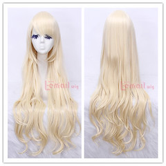80cm long beige wavy sweet Cosplay hair wig CW201A