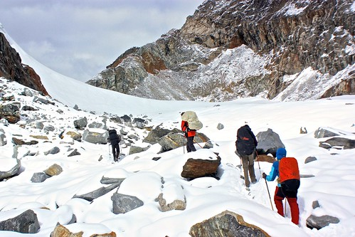 making our way to the real Cho La Pass (and there is still snow on the ground)