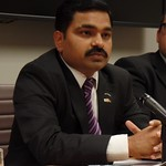 """Mr. Abhiskek Shah described the link between climate change and the """"brain drain"""" in his home country of Nepal."""