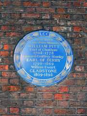 Photo of William Pitt, Edward Smith-Stanley, and William Ewart Gladstone blue plaque