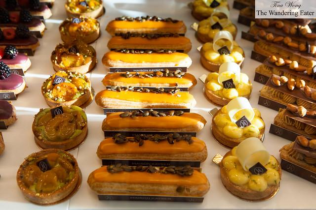 Pistachio-apricot tarts, pumpkin eclairs, yuzu tarts