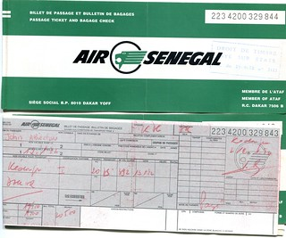 Air Senegal Ticket, 1982