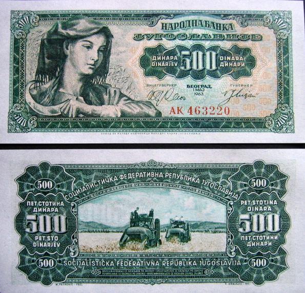 500 Dinárov Juhoslávia 1963, Pick 74