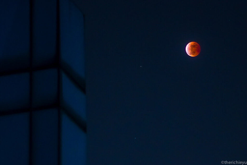 Red Moon against a Blue Urban Sky