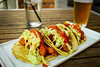 Shrimp Tacos - Beer Battered, Pickled Onion Slaw, Fire Roasted Salsa