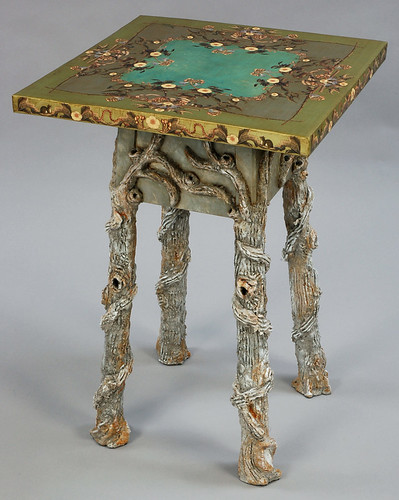 Paper Maché Faux Bois End Table