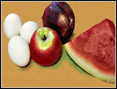 Red Onion, Watermelon, Apple, & White Eggs (Ve…