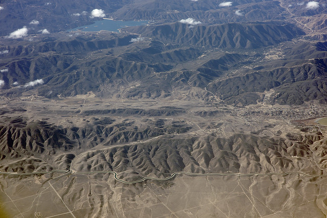 Aerial view of the San Andreas Fault near Lake Elizabeth, Los Angeles County, California