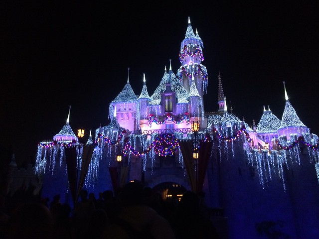 Sleeping Beauty's Castle decorated for the holidays