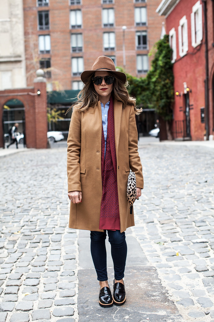 menswear outfit jcrew zara camel coat skinny jeans coach loafers clare vivier leapord clutch karen walker sunglasses how to wear menswear pieces corporate catwalk what to wear in the fall how to layer in new york city