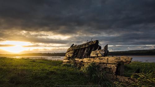 sunset clouds boats ships riversevern purtonshipsgraveyard
