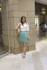 White shirt and Gingham miniskirt_4