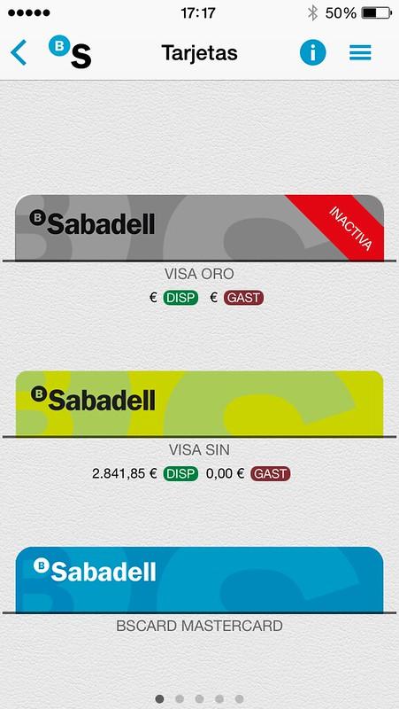 Wallet de tarjetas de Sabadell Móvil