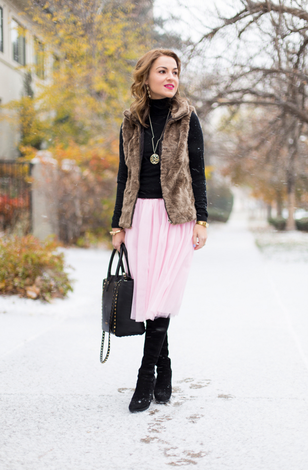 Cozy layers + tulle skirt + 5050 boots