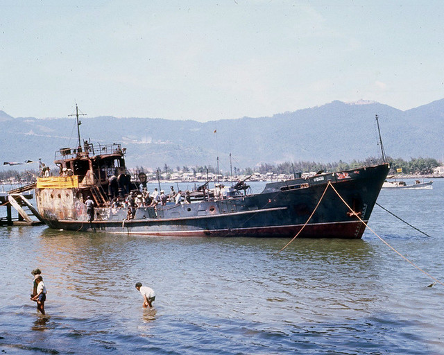 DA NANG 1966 - Captured North Vietnamese ship on display