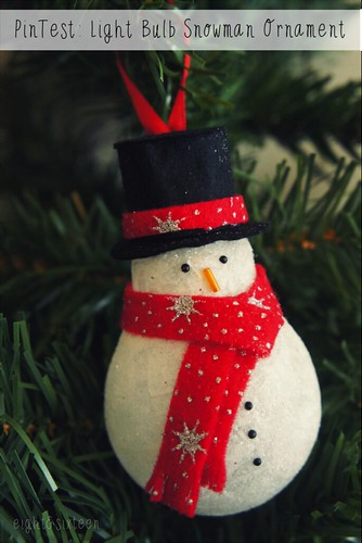 diy upcycled light bulb snowman ornament by eight & sixteen