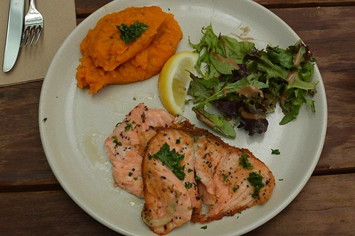 Sweet potato & pumpkin mash, mixed leaves, grilled Tasmanian salmon