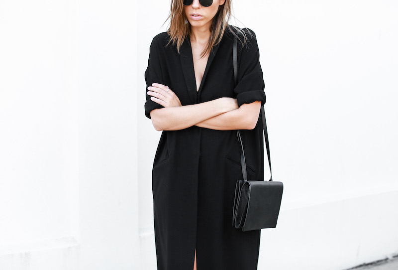 modern legacy blog ASOS duster coat black dress sneakers street style Alexander Wang Prisma clutch monochrome (9 of 13)