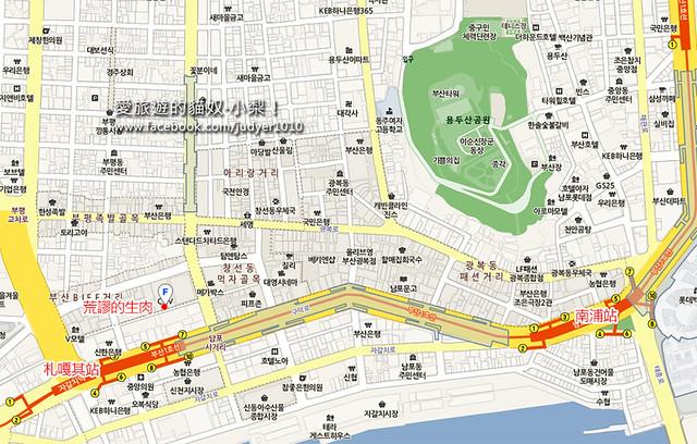 荒謬的生肉釜山南浦地圖