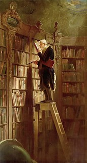 Bibliophile in his library