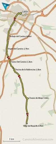 Leon-to-Villar-de-Mazarife-Map-197x500