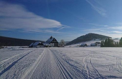 Jizerka. Perfektní podmínky, asi 40cm sněhu. Nejlepší svezení je mezi Rozmezím a Jizerkou