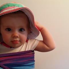 3, 2, 1, fling the new hat! #opshopfind #babywearing #ringsling #mybeautifulbaby #unfiltered