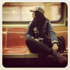 Monday morning 1 train. #nycsubwayportraits #nyc #train #subway #publictransportation #commute #1train #hat