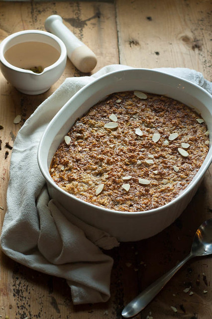 Chai Baked Oatmeal. Cozy warm baked oatmeal filled with all the spices of a chai latte. Packed with eggs and greek yogurt for the healthy part and then covered in honey and butter to keep it all in balance.